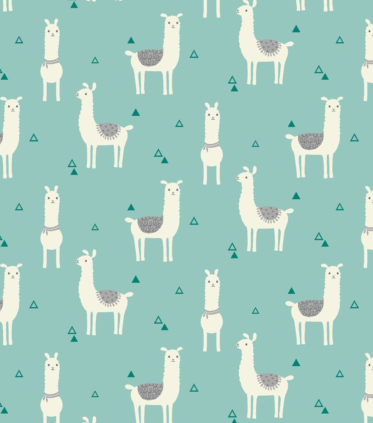 Snuggle Flannel Fabric -Tossed Llama Teal