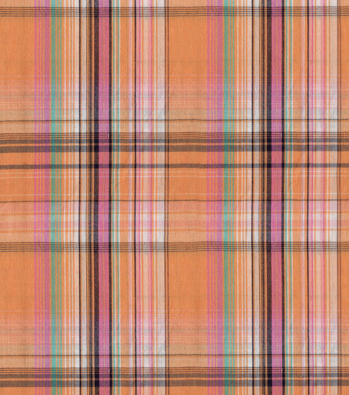 Shirting Fabric -Orange Pink Plaid