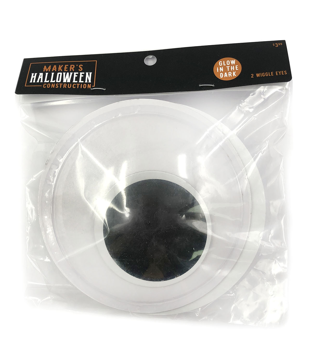 Maker\u0027s Halloween Construction Large Glow-in-the-Dark Wiggle Eyes-White