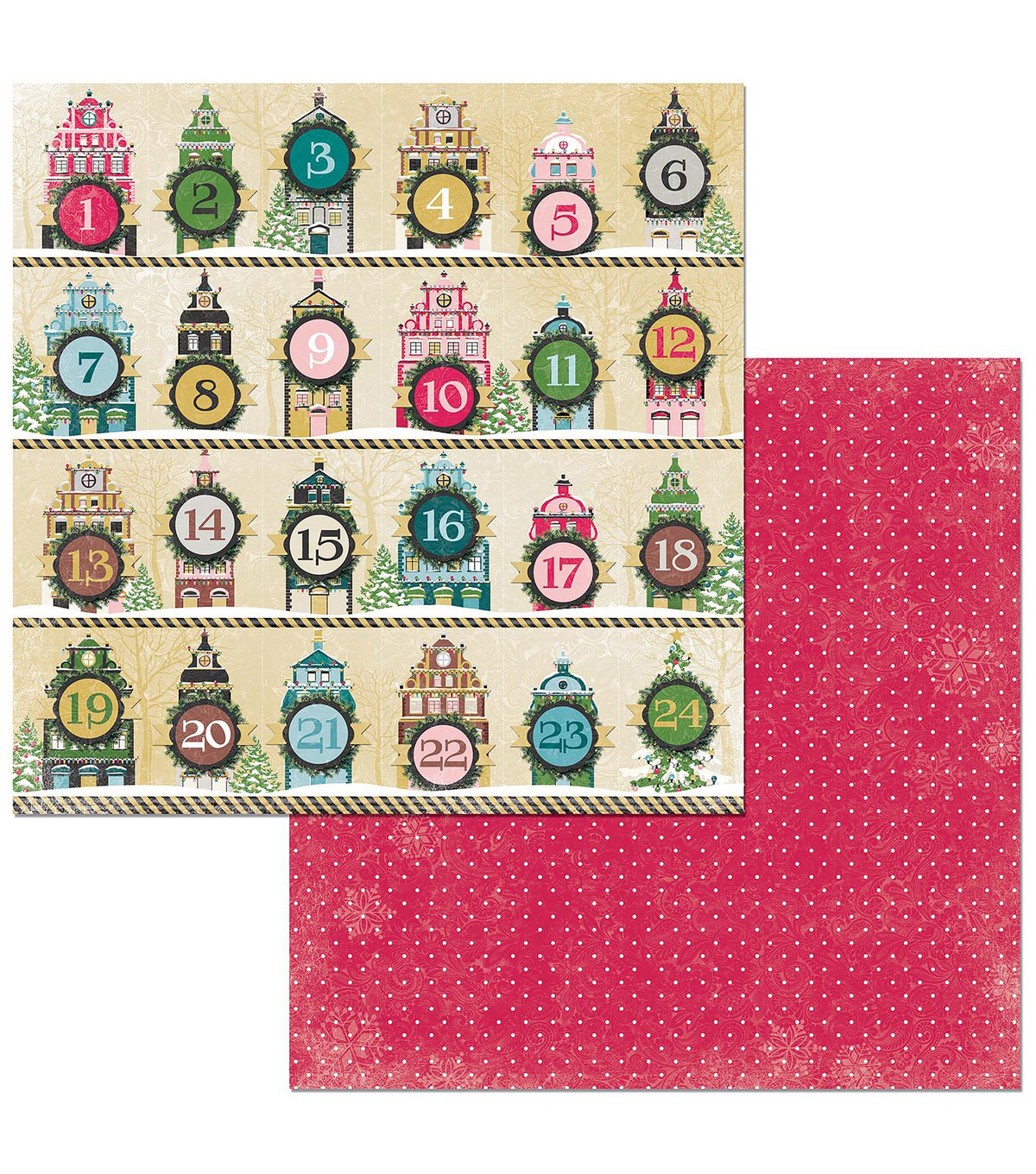 Christmas In The Village Double-Sided Cardstock 12\u0022X12\u0022-Countdown