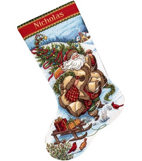 Dimensions Gold Collection Santa\u0027s Journey Stocking Cntd X-Stitch Kit