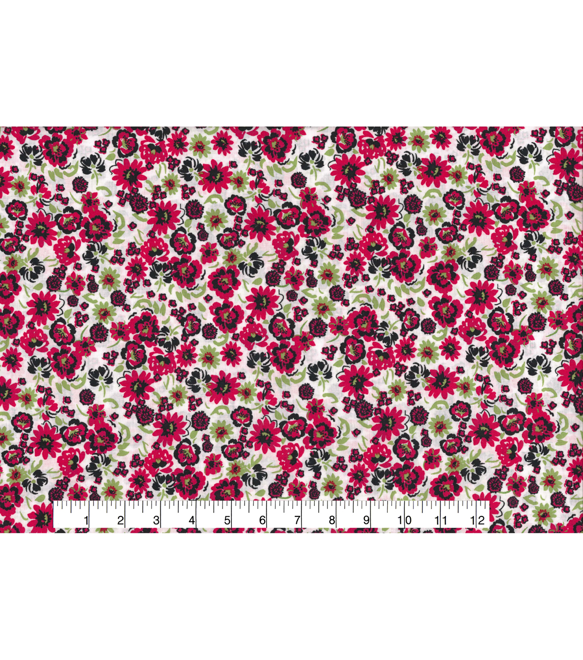 Quilter\u0027s Showcase Fabric 43\u0027\u0027-Raspberry & Green Small Floral