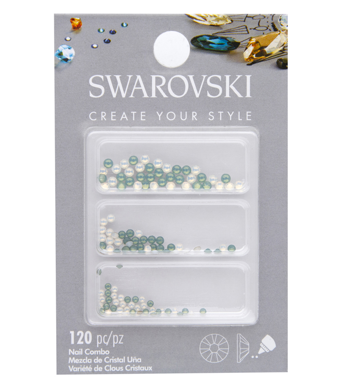 Swarovski Create Your Style 120 pk Nail Crystals-Opal Combo
