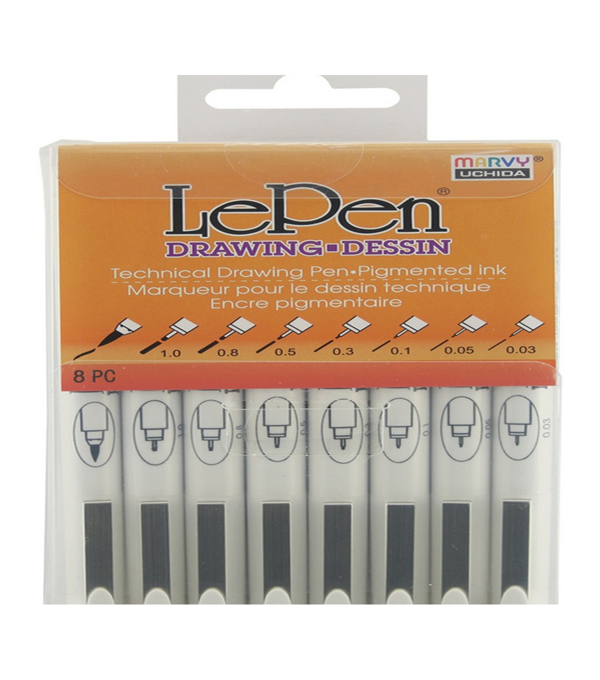 Marvy Uchida LePen 8 pk Assorted Technical Drawing Pens