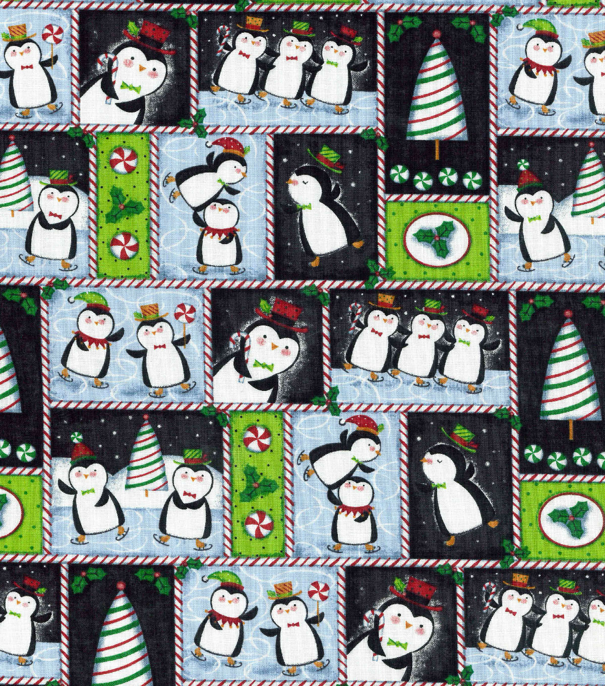 Christmas Cotton Fabric-Ice Skating Penguin Block