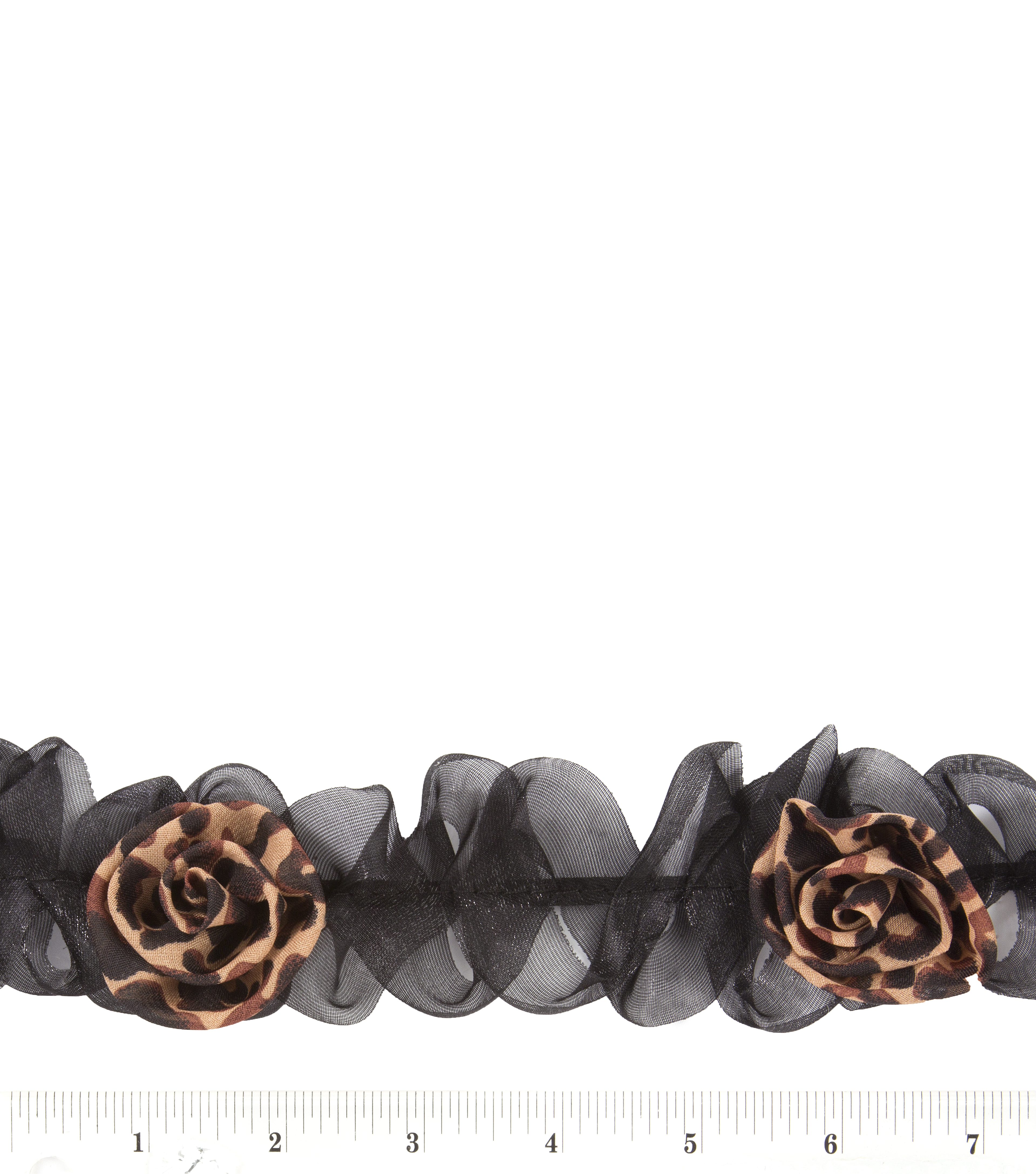 2-1/2\u0027\u0027 elastic animal print flower trim