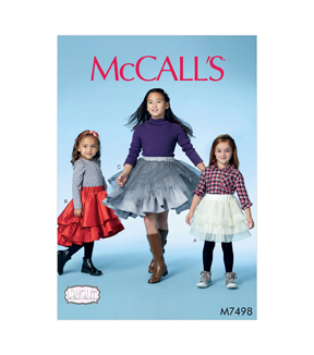 McCall\u0027s Pattern M7498 Girls\u0027 Tiered & Ruffled Skirts-Size 7-14, 7-8-10-12-14