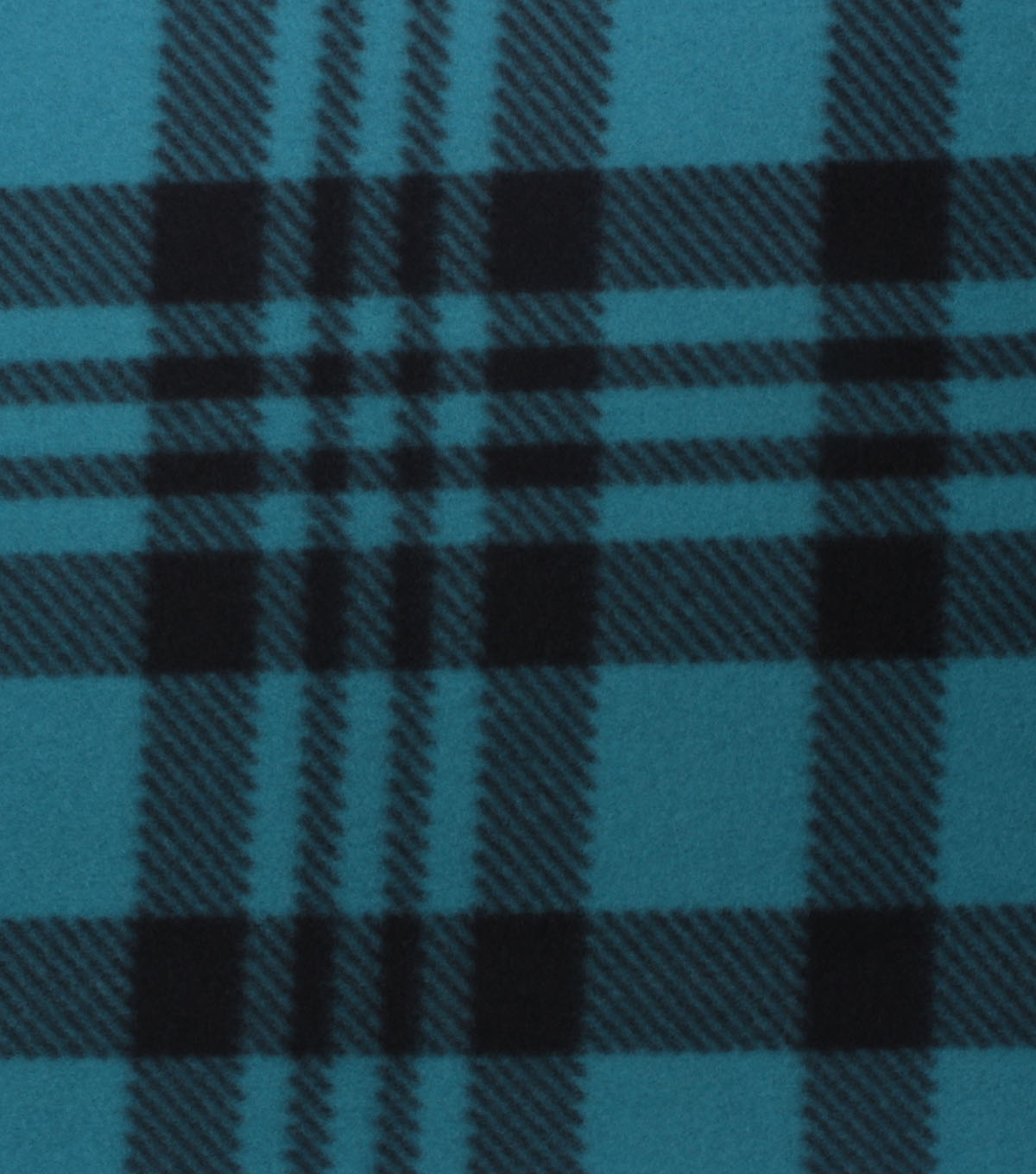 Blizzard Fleece Fabric-Luke Teal & Black Plaid