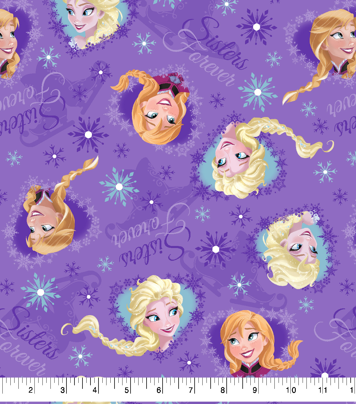 Disney Cotton Fabric-Frozen Sisters Ice Skating