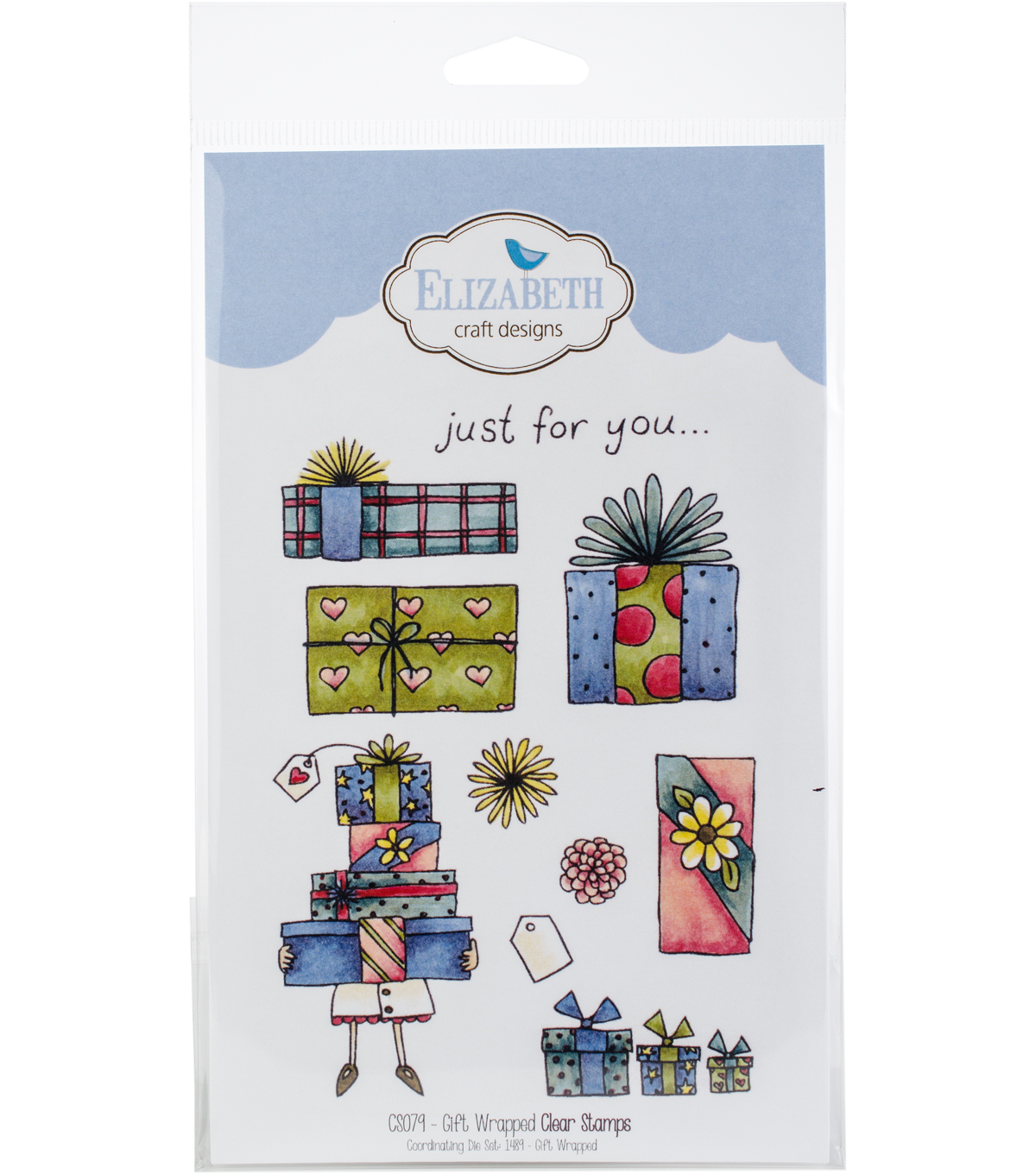 Elizabeth Craft Designs 10 pk Clear Stamps-Gift Wrapped