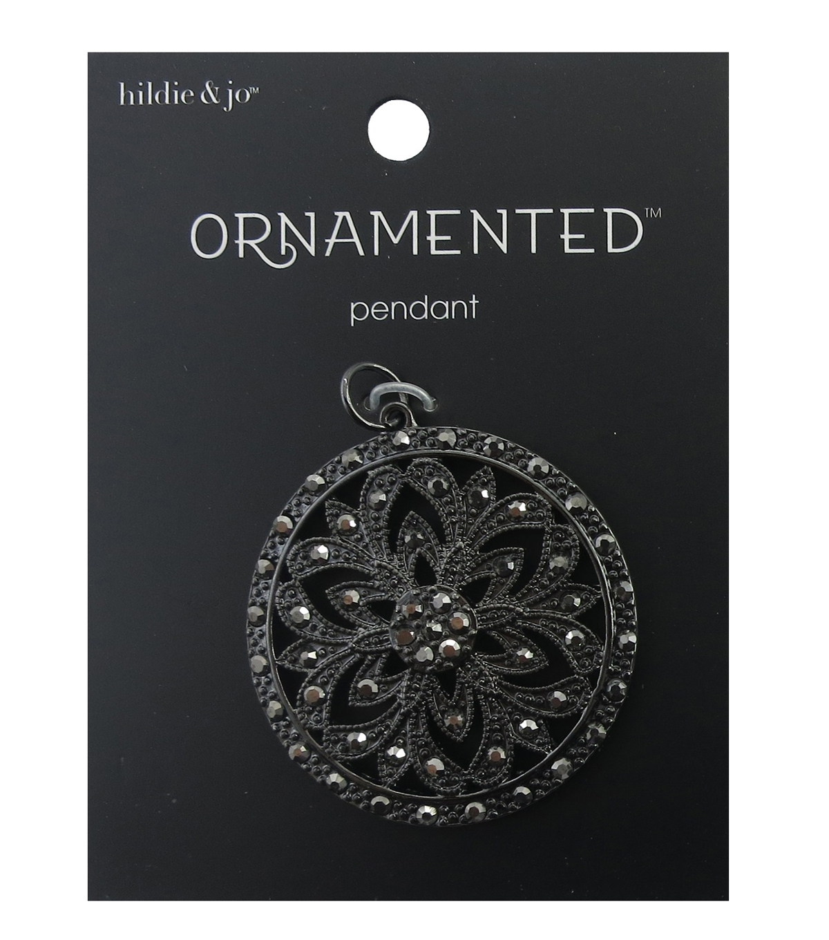 hildie & jo Ornamented Flower Circle Antique Silver Pendant