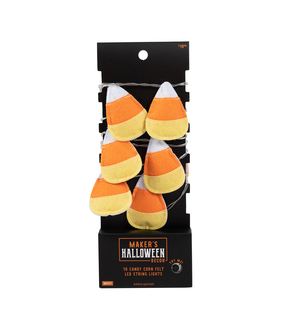 Maker\u0027s Halloween Decor 10 ct Multi Felt Candy Corn LED String Lights