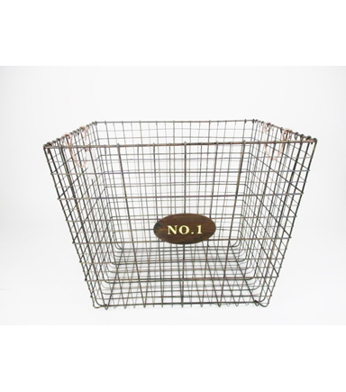 Farm Storage Rectangle Basket With Copper Colored Handle