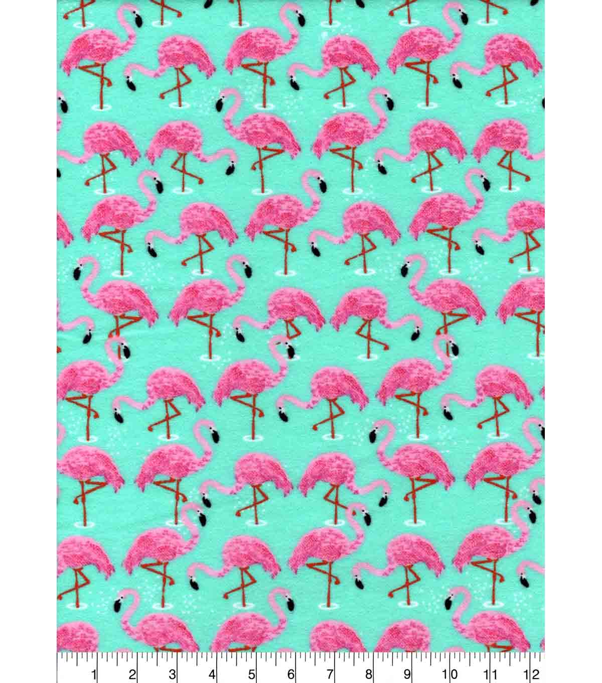 Snuggle Flannel Fabric -Flamingos in Water