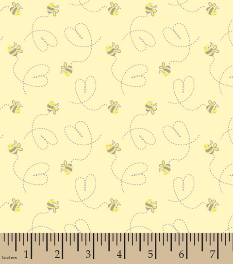 Nursery Cotton Fabric -Bumble Bee Tossed