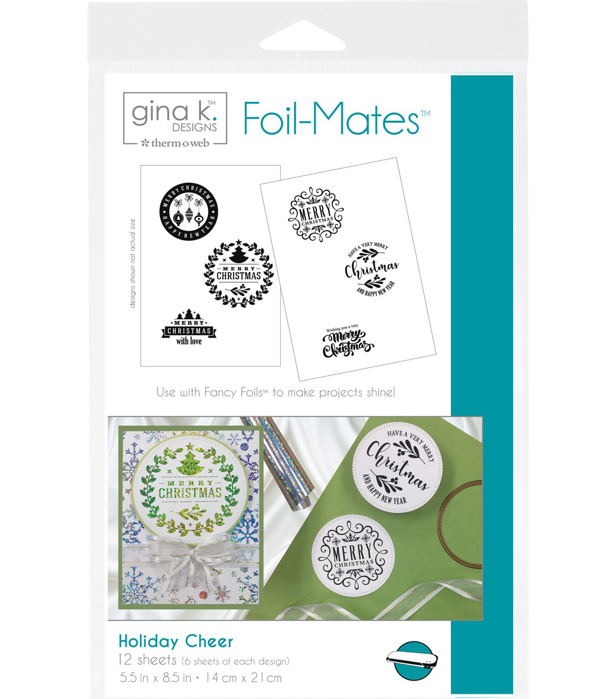 Gina K. Designs 12 pk 5.5\'\'x8.5\'\' Background Foil-Mates-Holiday ...