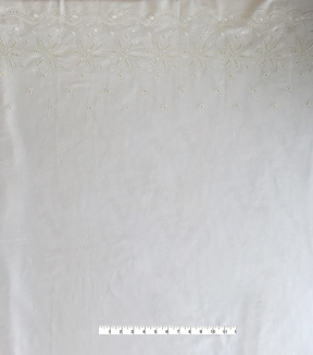 Linen Fabric 56\u0027\u0027-White Embroidered Border
