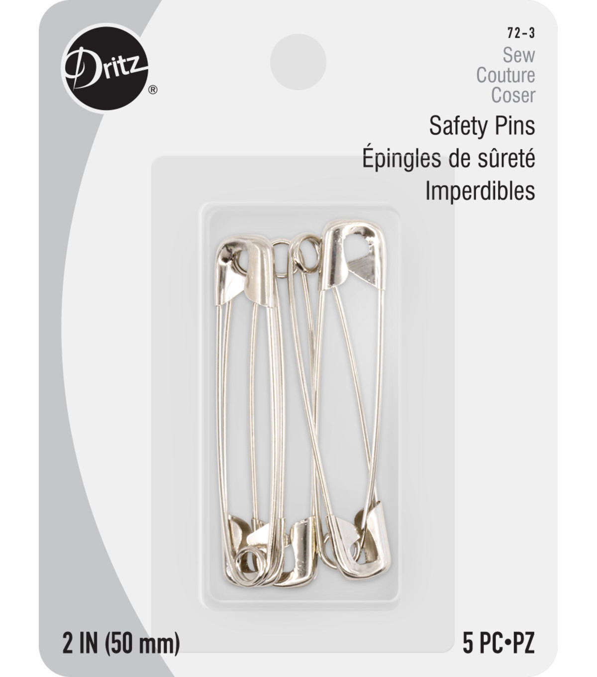 Dritz Nickel Plated Safety Pins, Size 3 6/pkg