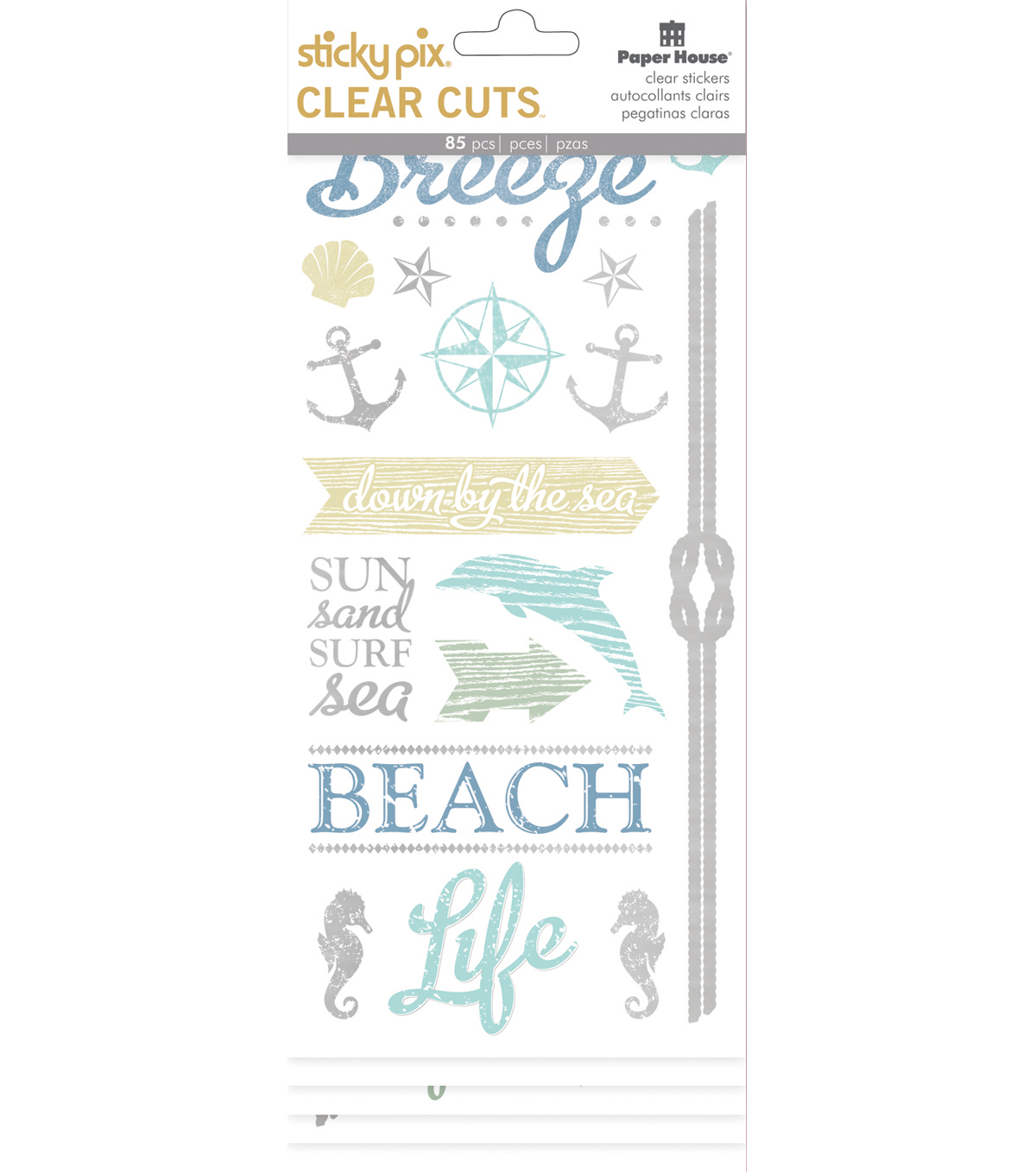 Paper House Sticky Pix Clear Cuts Pack of 85 Stickers-Beach