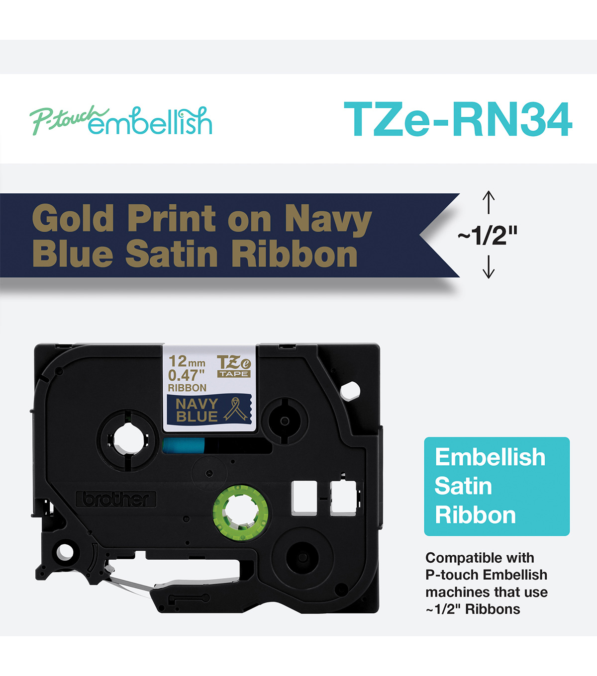 Brother P-touch Embellish Satin Ribbon 0.47\u0027\u0027x13.1\u0027-Gold on Blue