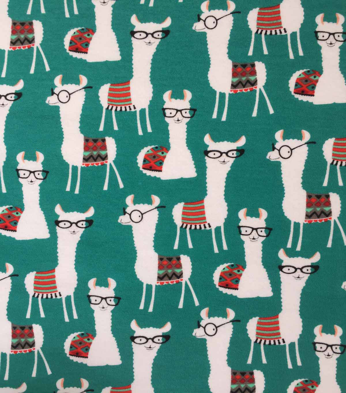 Doodles Cotton Interlock Knit Fabric-Llama Library