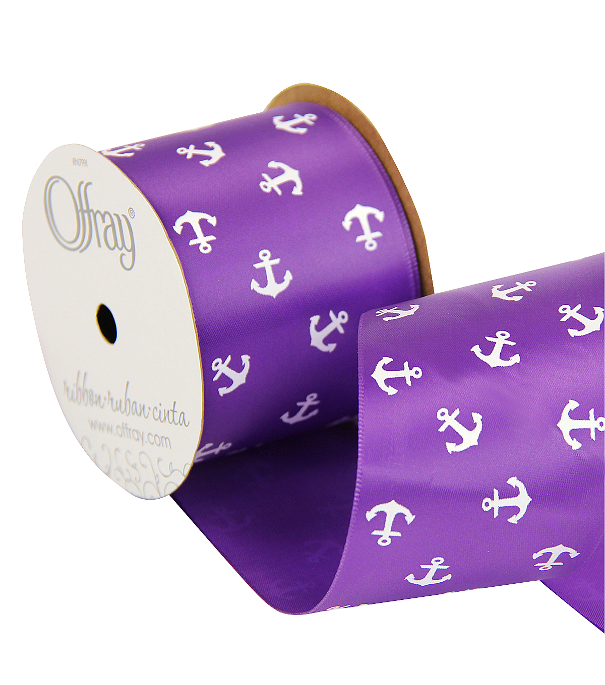 Offray 2.25\u0022 x 9\u0027 Anchors Ribbon-Purple/White