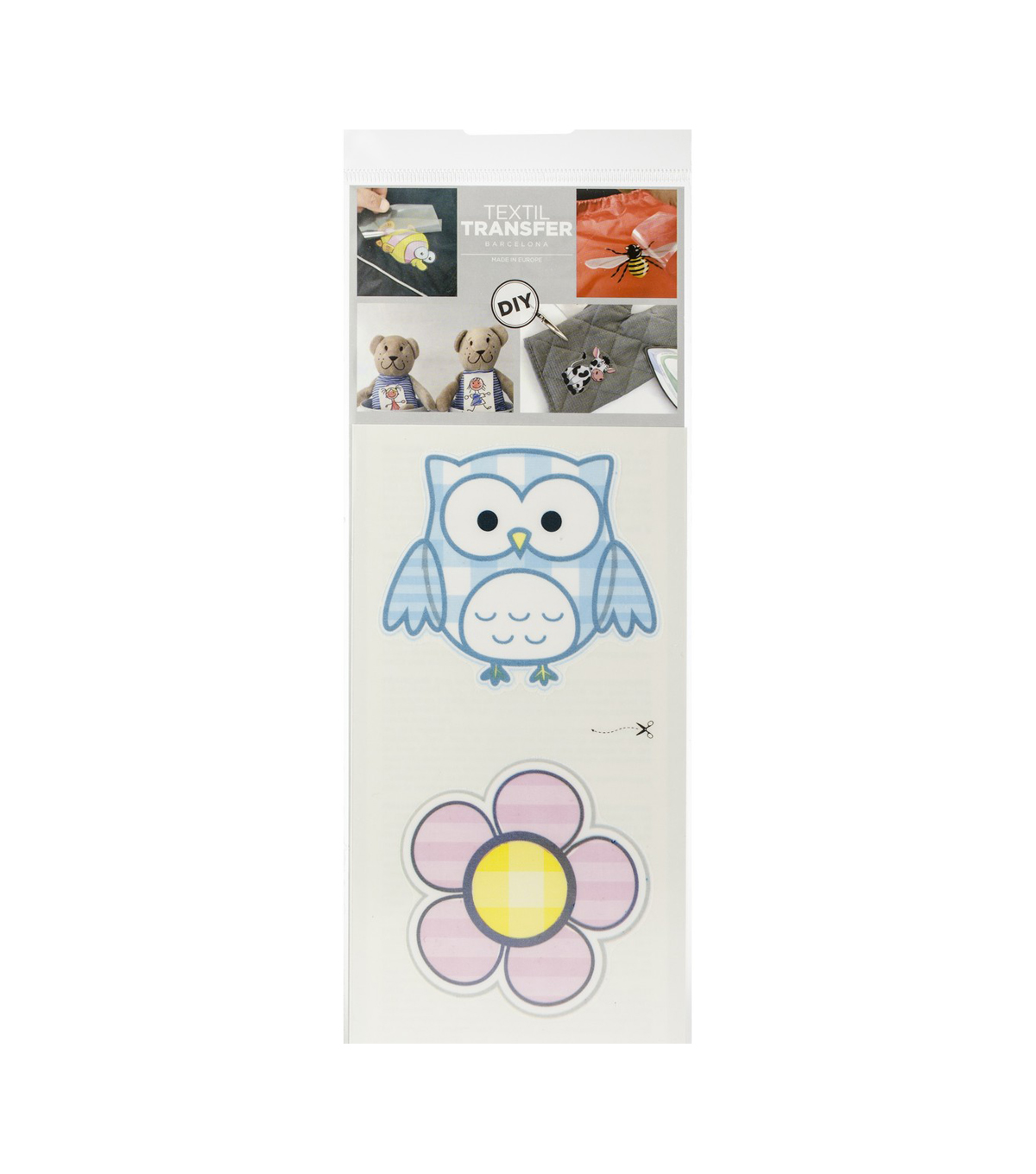 Textil Transfer Fabric Iron-Ons 3.75\u0022X7.75\u0022-Owl + Flower