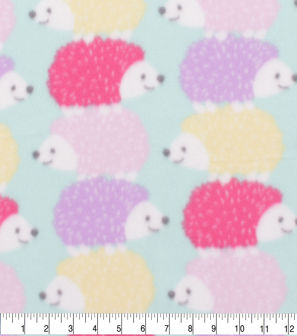 Blizzard Fleece Fabric-Pastel Stacked Hedgehogs