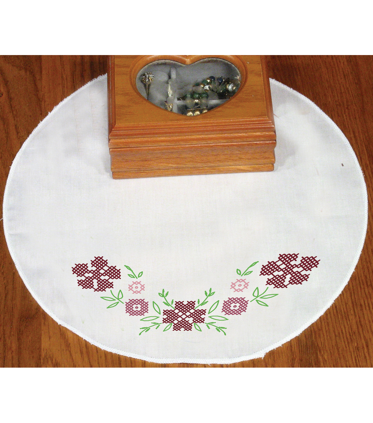 Fairway Stamped Round Doily Cross Stitch Flower