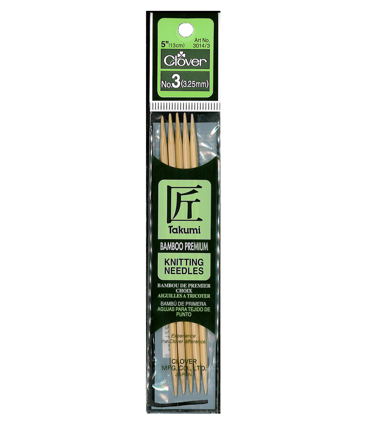 Takumi Bamboo Double Point Knitting Needles 5\u0022 5/Pkg-Size 3/3.25mm