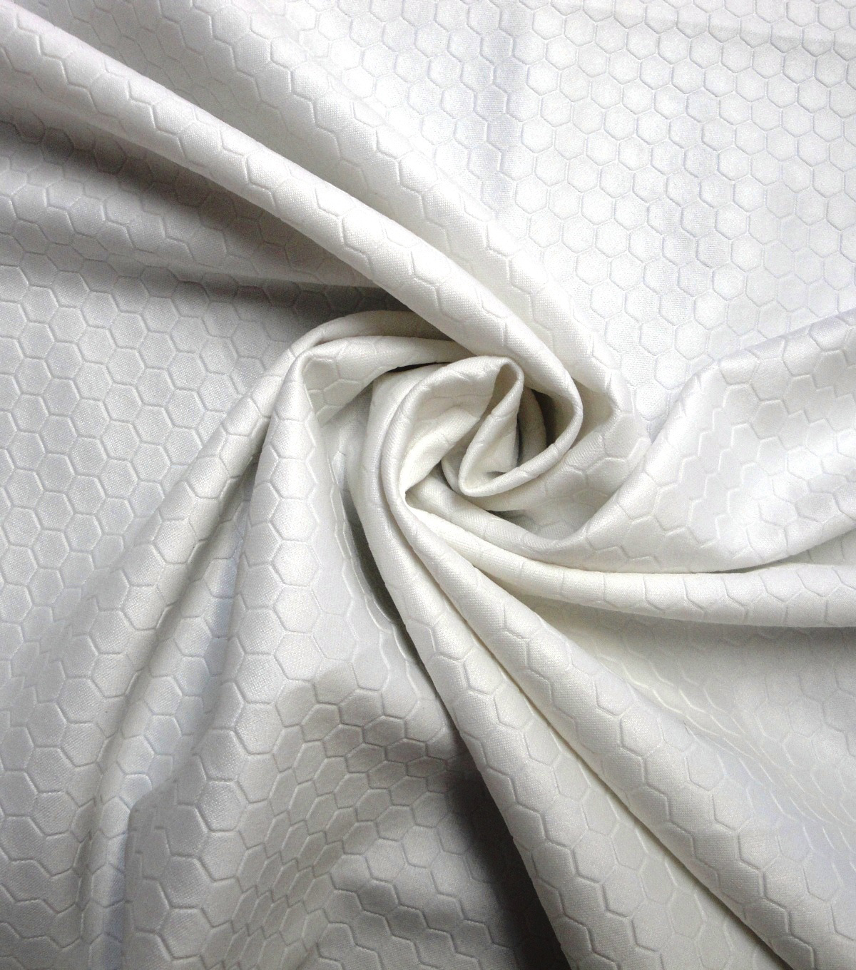 Yaya Han Cosplay Stretch Fabric 59\u0027\u0027-White Scuba Hexagon