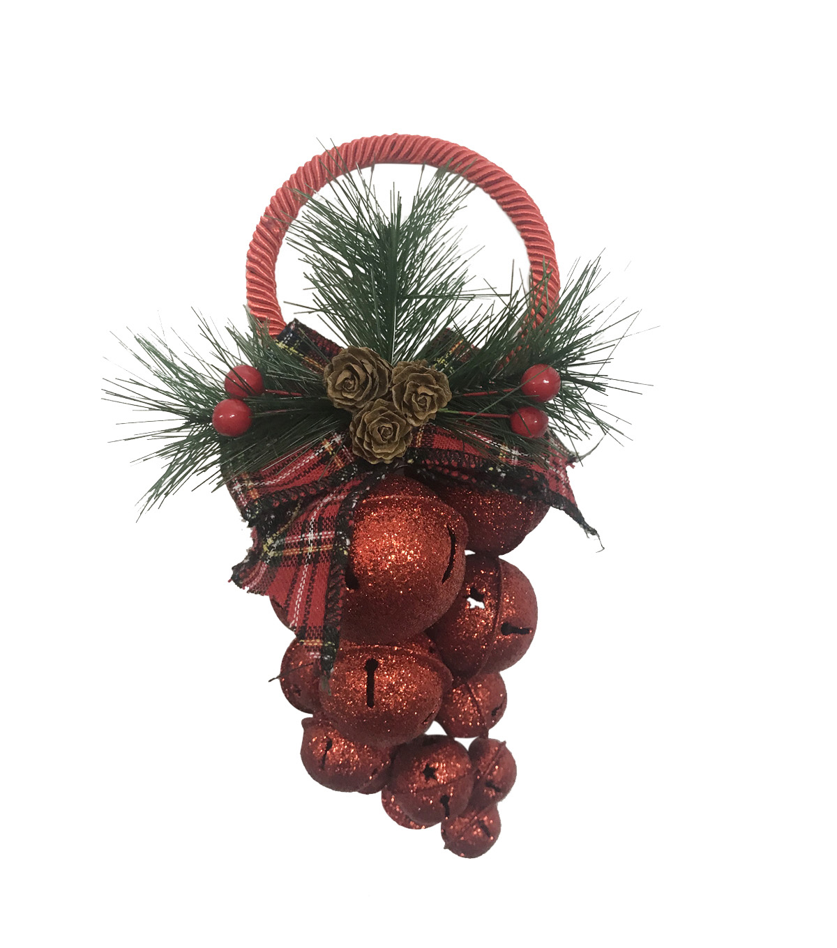 Handmade Holiday Christmas Glitter Jingle Bell Grapevine Decor-Red