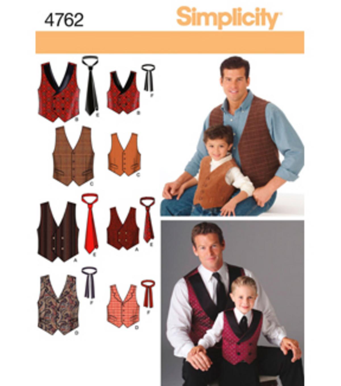 Simplicity Pattern 4762-Boys\' & Men\'s Vests & Tie-S M L/S M L Xl | JOANN