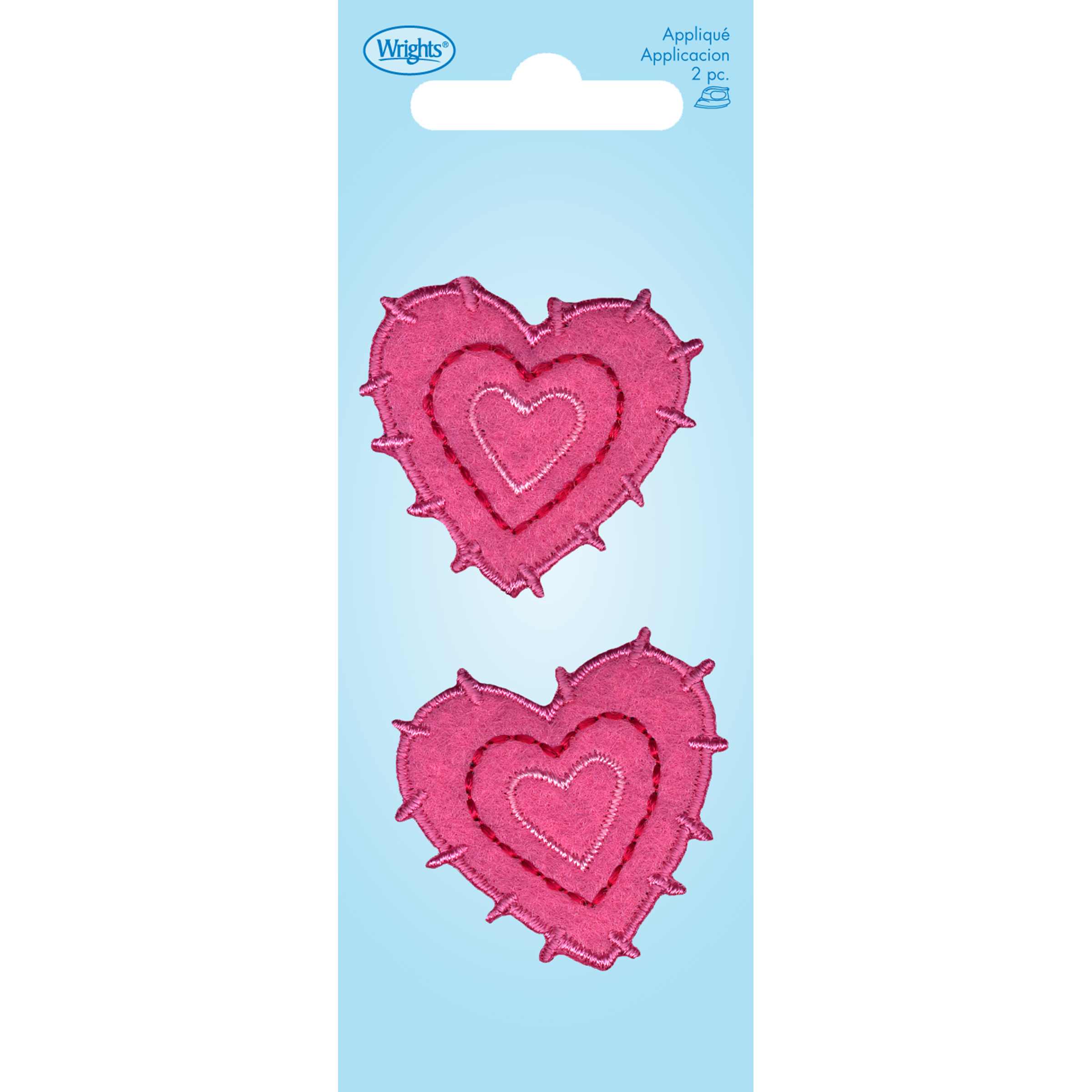 Pink Hearts with Embroder Applique