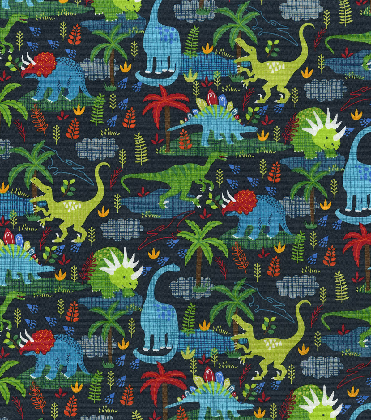 Novelty Cotton Fabric -Dinos on Navy