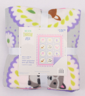 No Sew Fleece Throw 48\u0022-Sweet Animal Circles With Border