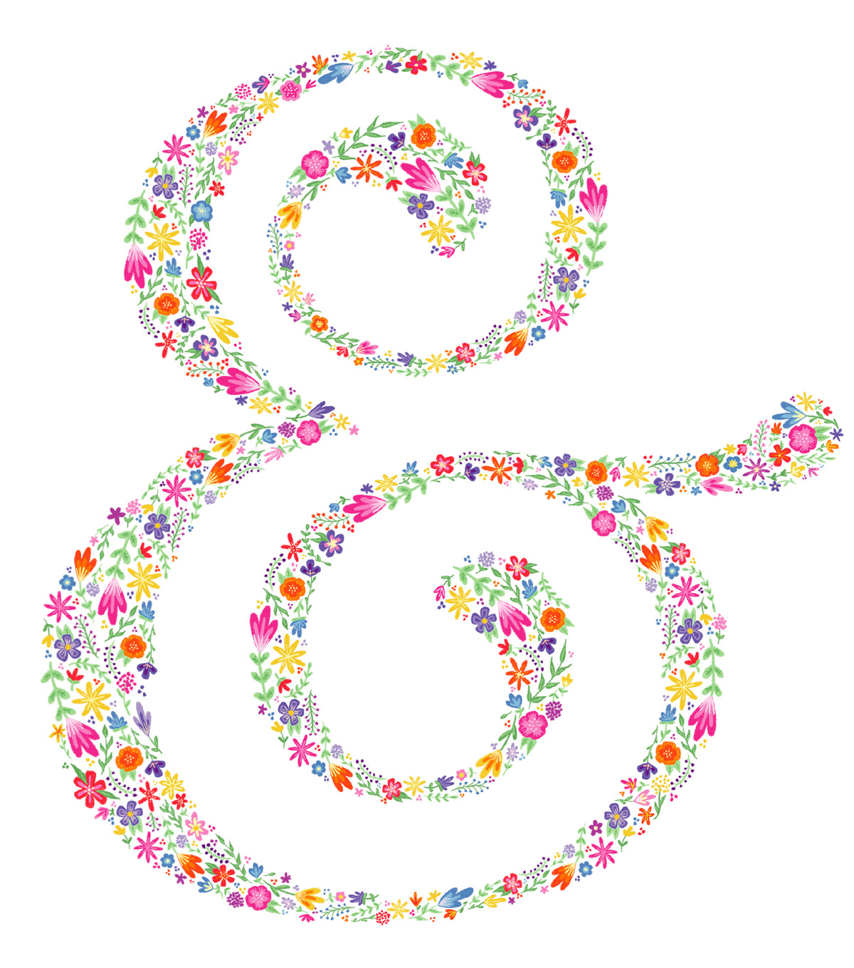 Cricut Large Floral Ampersand Iron-On Design