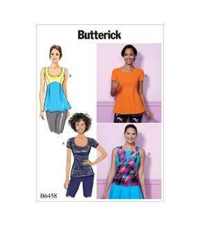 Butterick Pattern B6458 Misses\u0027 Pullover, Paneled Tops-Size 6-8-10-12-14