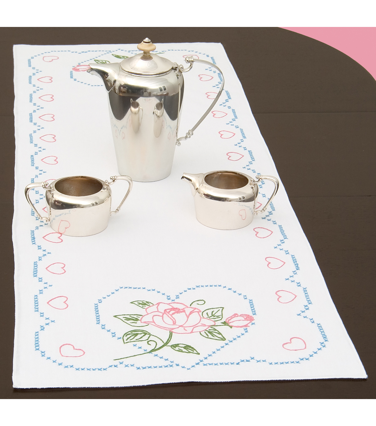 Jack Dempsey Stamped Table Runner/Scarf Rose & Hearts