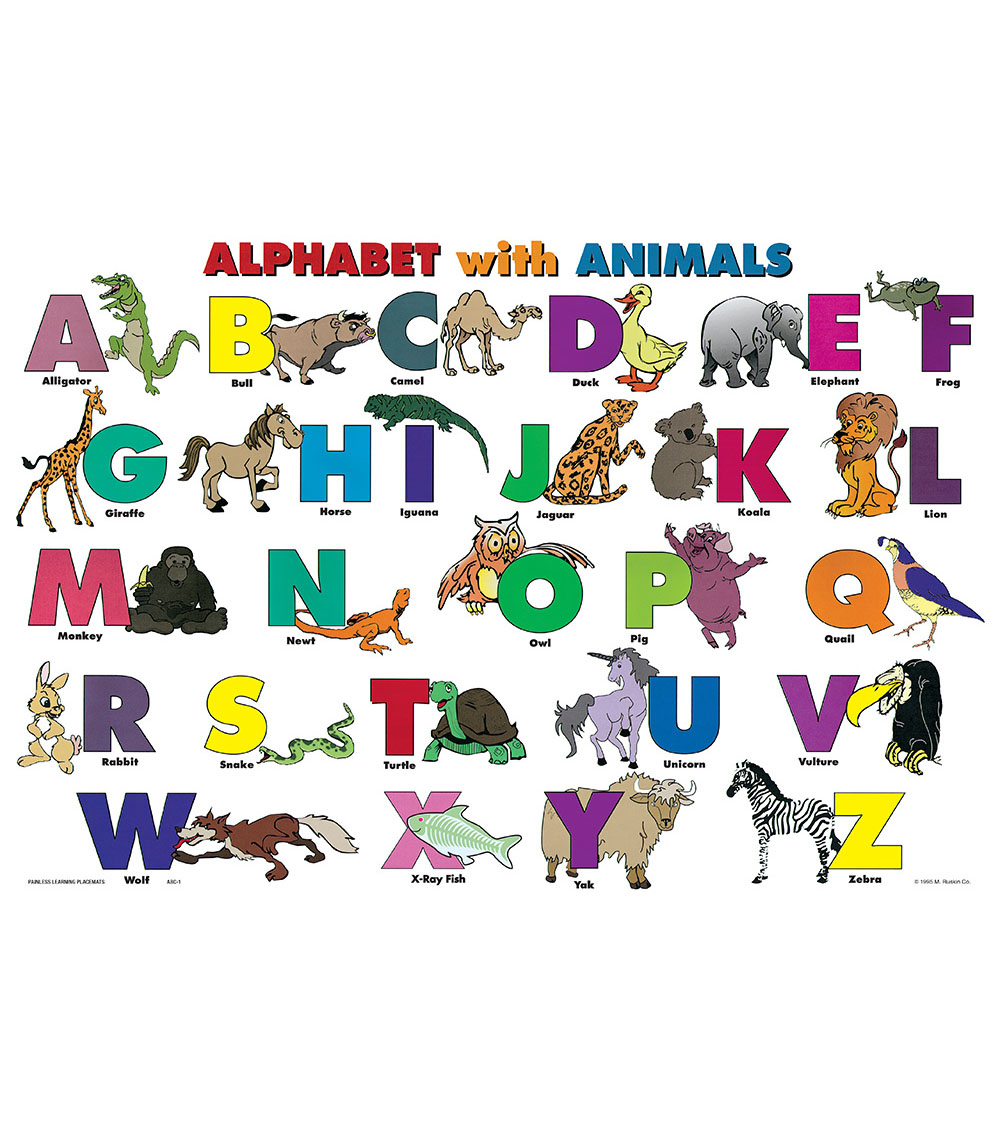 Painless Learning Laminated Placemat-Alphabet & Animals