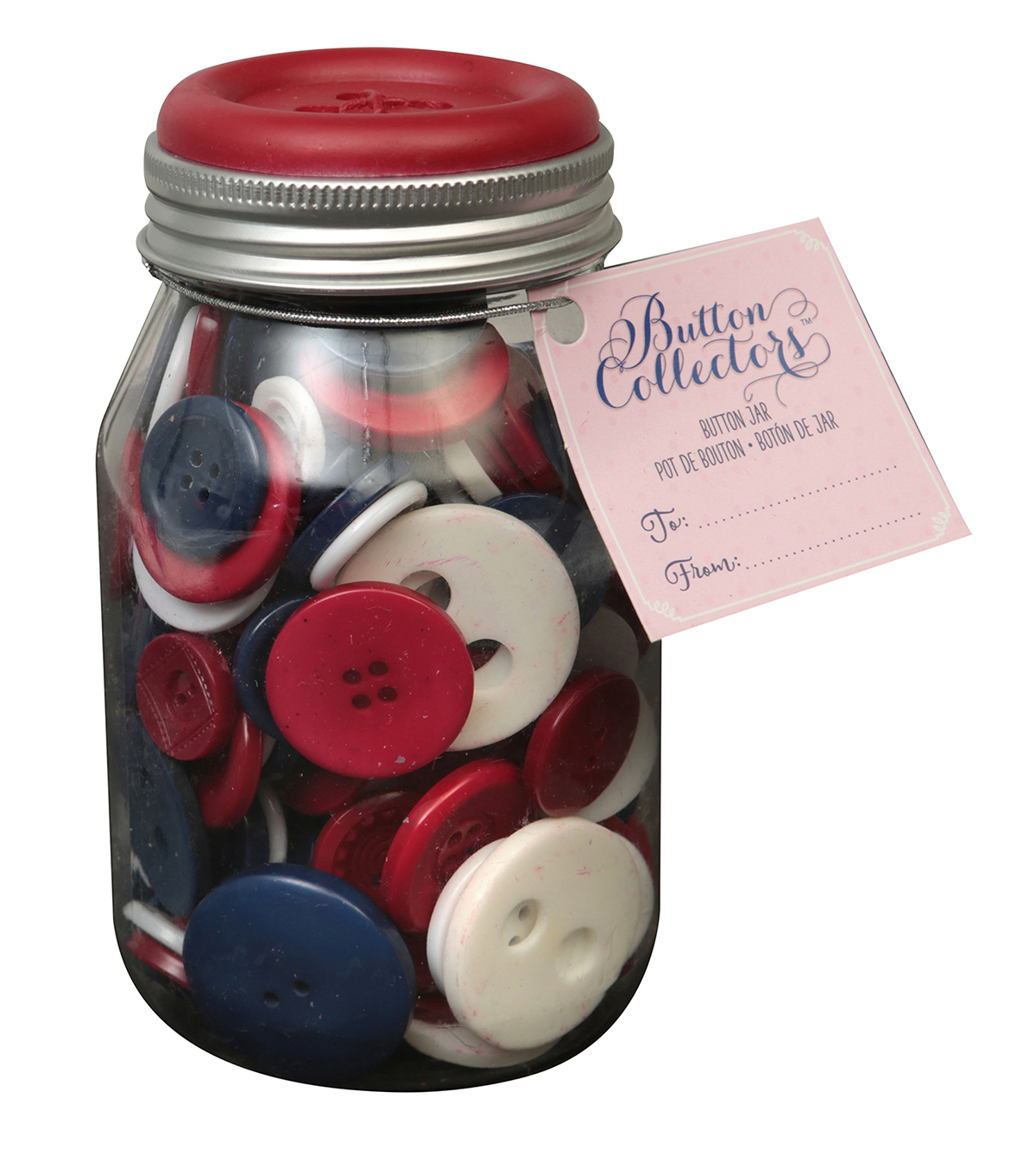 Button Collector Mason Jar-Red White And Blue