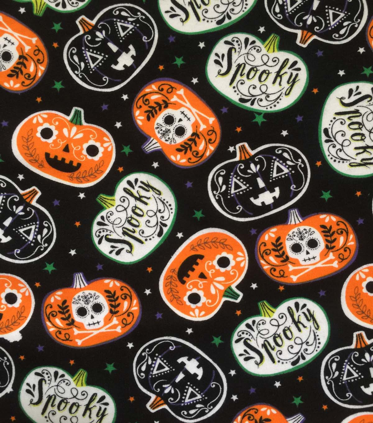 Halloween Doodles Cotton Interlock Fabric-Spooky Pumpkins