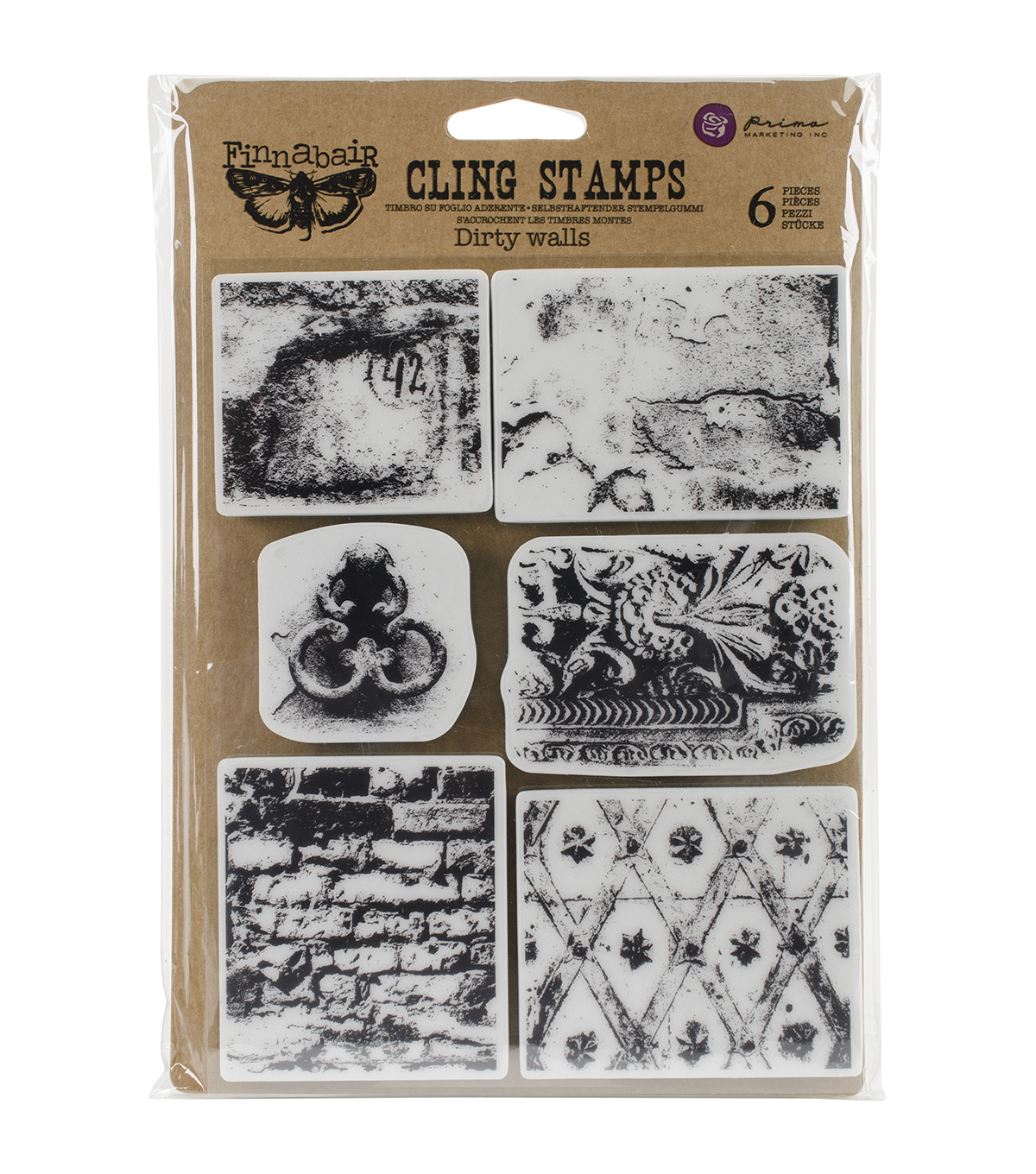 Prima Marketing Finnabair Cling Stamps-Dirty Walls