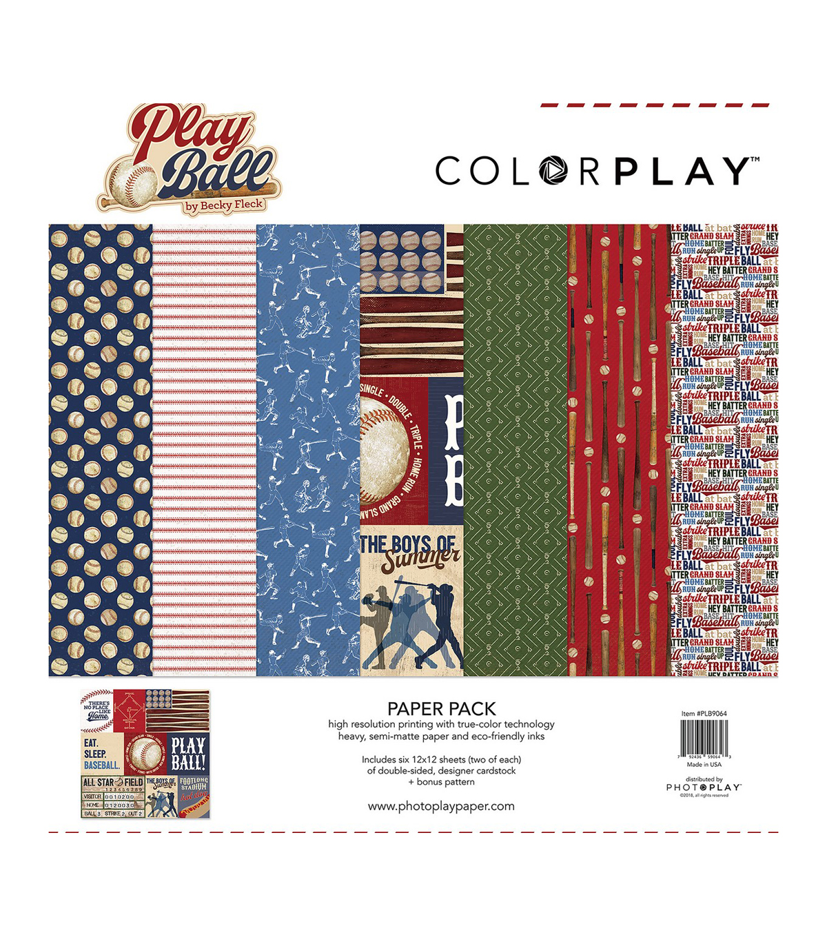 Photo Play Paper ColorPlay Play Ball Becky Fleck Collection Pack