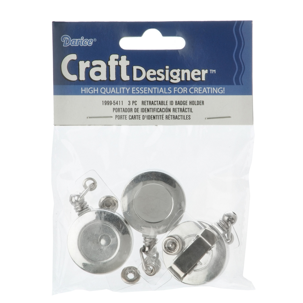 Retractable ID Badge Holder, 3pc/pkg