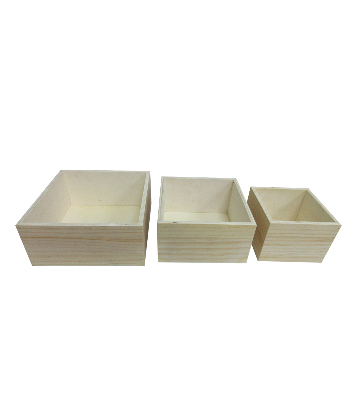 Unfinished Square Wood Boxes-3 Pack