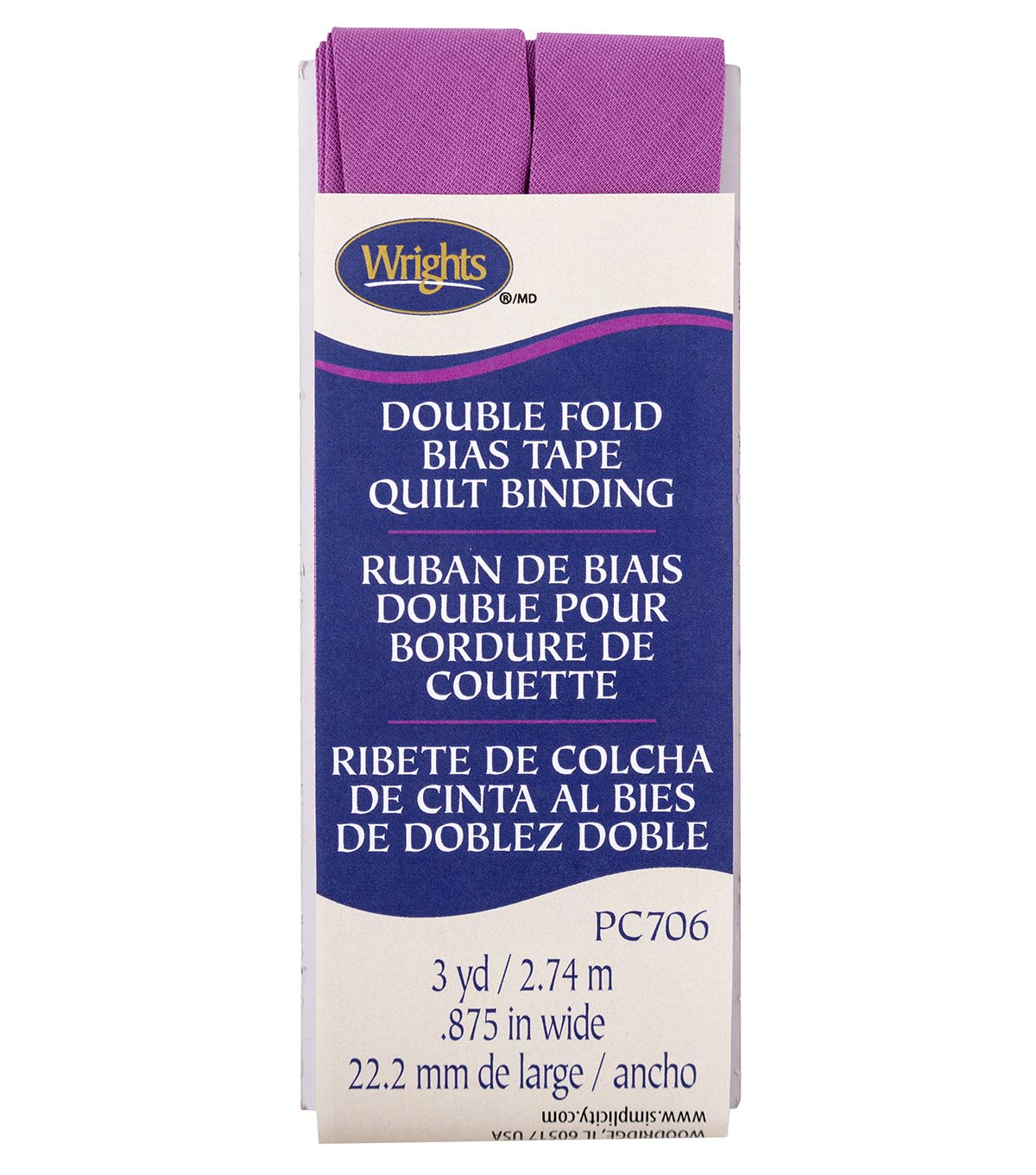 Wrights Double Fold Quilt Binding Bias Tape 7/8\u0027\u0027x3 yds-Orchid