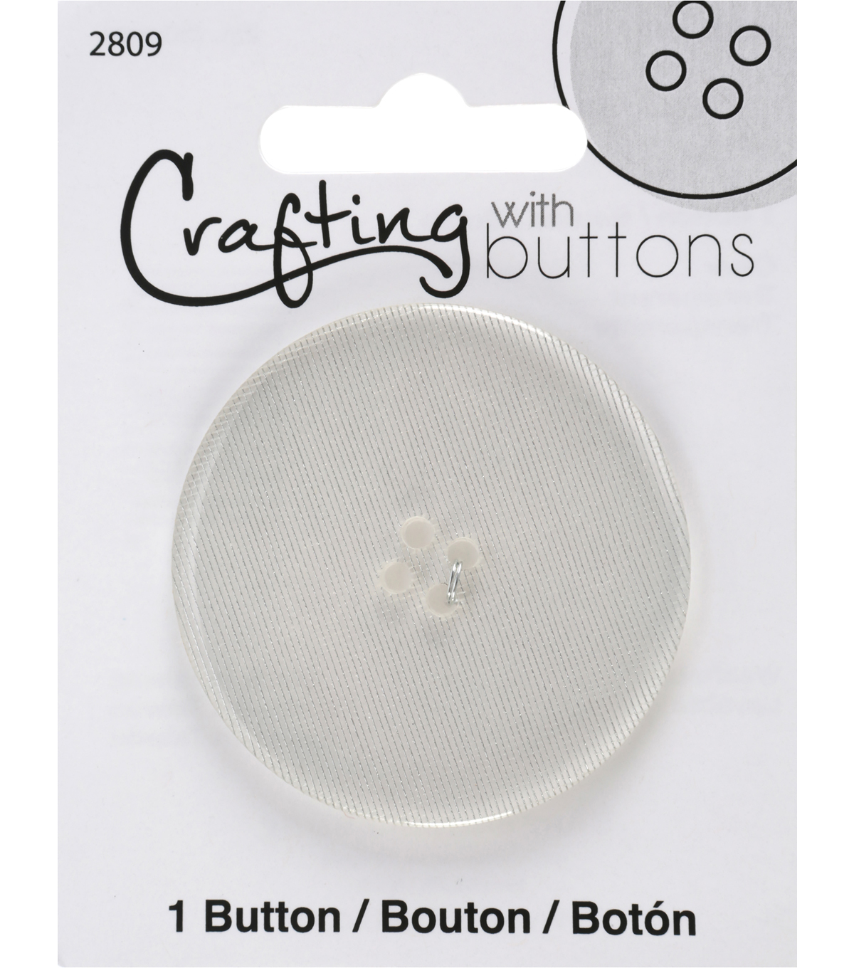 Crafting with Buttons Black & White 2\u0027\u0027 Button-Clear