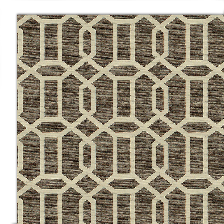 Ruggable 2pc Washable Rug System-Modern Fretwork Rich Grey  & White