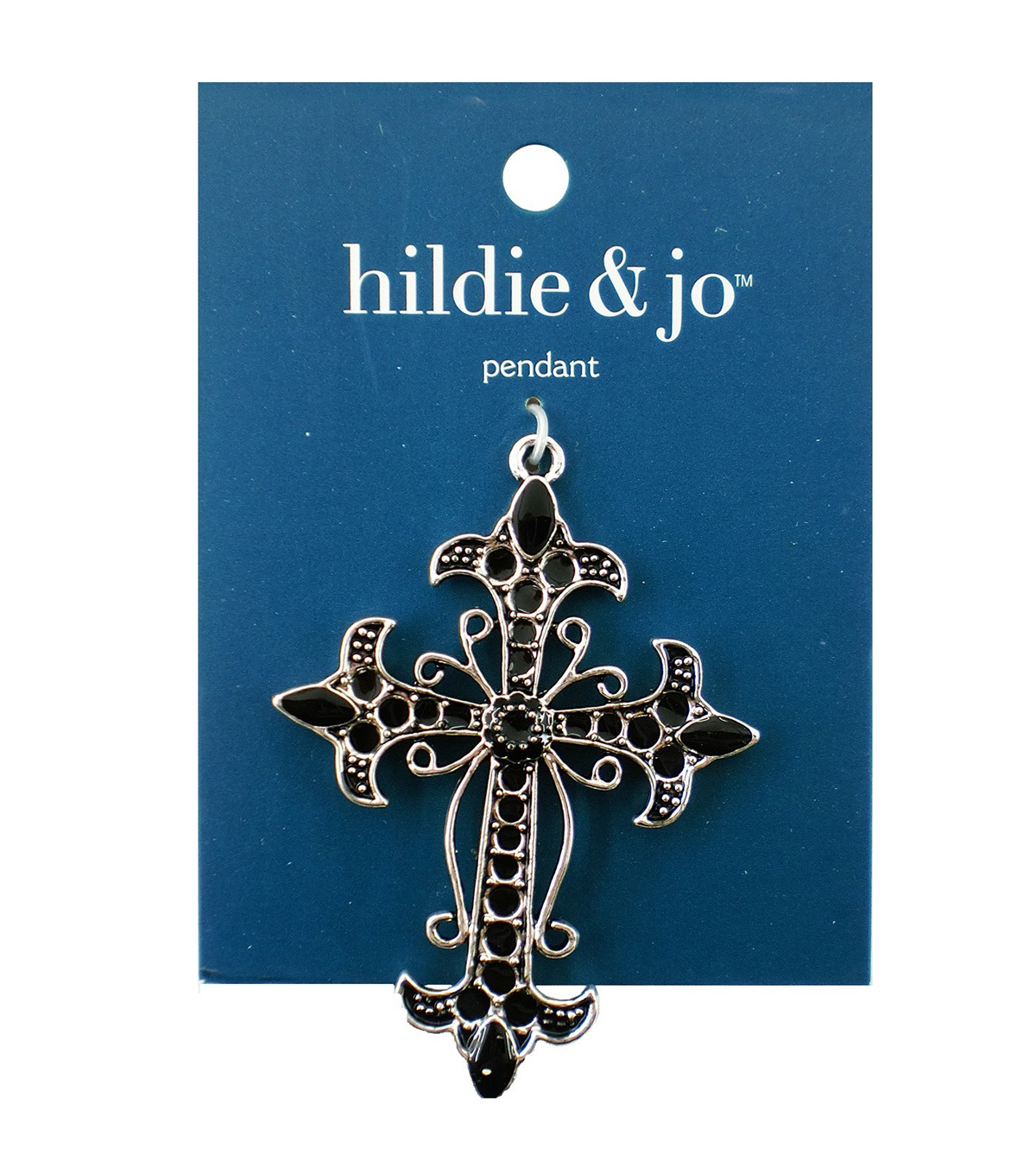Blue Moon Beads Metal Pendant 72x52mm, Cross, Antique Silver, Black